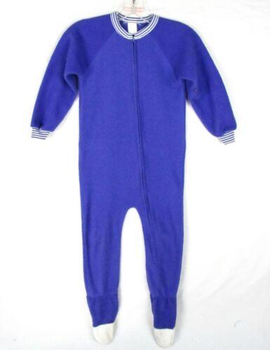 Vintage 80s Purple Fleece Footie Pajamas Footed Pjs Zip-Front One Piece 6/8 S