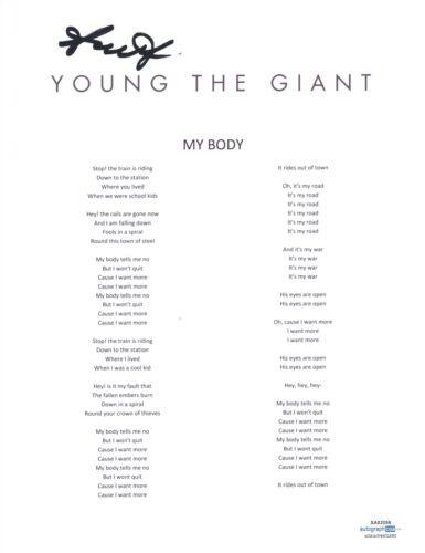 Sameer Gadhia Signed Autograph Young The Giant My Body Song Lyric Sheet ACOA COA