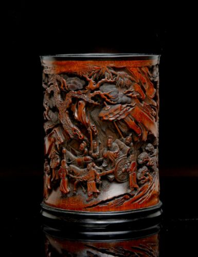 Superb Chinese Qing Period Highly Carved RETURN OF GENERAL GUO Bamboo Brush Pot
