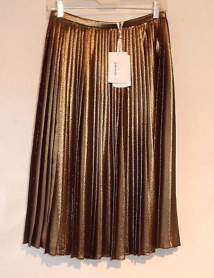 NEW w/ TAGS TED BAKER Pleated Skirt * Limited Production * SZ-2 *Metallic*Lined