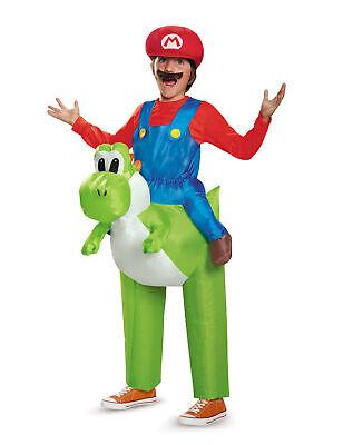 Aufblasbares Super Mario und Yoshi Carry-Me Nintendo Kostüm für Kinder bunt Cod.
