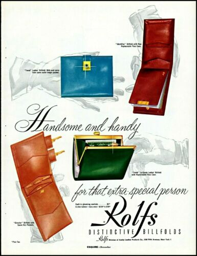 1955 Rolfs distinctive billfolds men women gifts vintage art Print Ad adL66