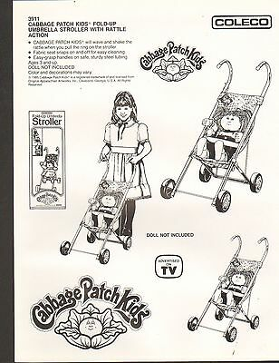 VINTAGE AD SHEET #652 - COLECO - CABBAGE PATCH KIDS UMBRELLA STROLLER for sale  New Berlin