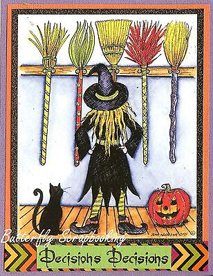 Witch Brooms (Halloween Witch Brooms & Cat Wood Mounted Rubber Stamp NORTHWOODS P10051)