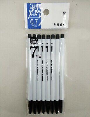 munhwa CAMPUS 0.7mm Ballpoint Pen 7pcs(Black x 7) Black Color Made in Korea