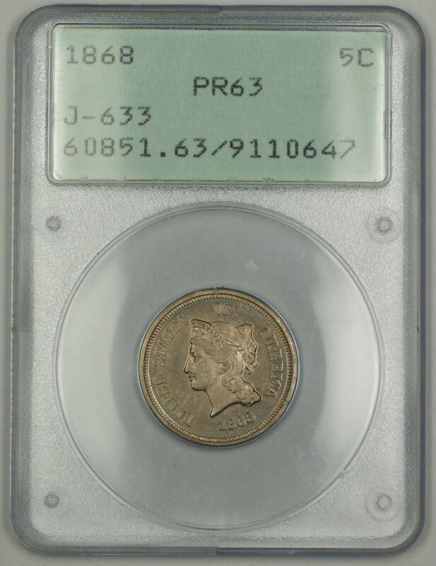 1868 Liberty Head V Nickel Pattern 5c Coin J-633 Judd Pcgs Pr-63 Ogh Rattler Cm