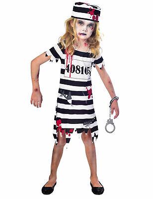 Zombie-Sträflingskostüm für Mädchen Halloween schwarz-weiss Cod.316627 ()