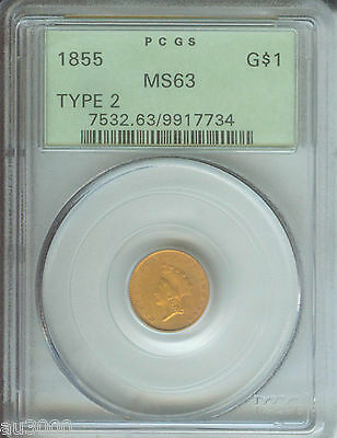 1855 TYPE 2 $1 GOLD DOLLAR G$1 PCGS MS63 OLD GREEN HOLDER OGH PREMIUM QUALITY PQ