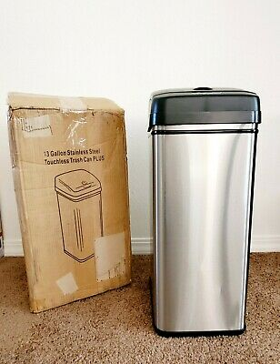 iTouchless DZT13P 13 Gallon Stainless Steel Automatic Trash Can