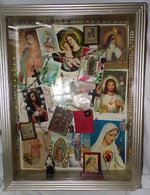 Folk Art Shadow Box Catholic Imagery Vintage Rosary Prayer Leaflets Medals Jesus