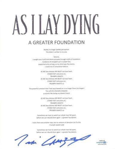 Tim Lambesis Signed As I Lay Dying A Greater Foundation Lyric Sheet ACOA COA