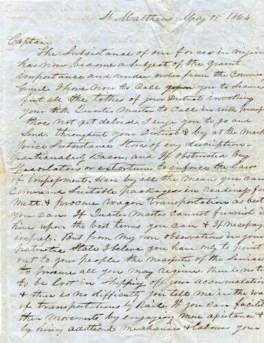 1864 CONFEDERATE ST MATTHEWS SC CAPT JOHN J RILEY COPY OF MAJOR W H SMITH LETTER