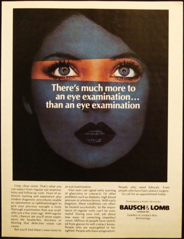 BAUSCH & LOMB - EYE GLASSES - EXAMINATION - VINTAGE 1984 PAGE AD - ADVERTISING