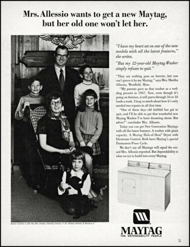 1970 Mrs Martha Allessio Westfield Mass Maytag Washer retro photo print ad L83