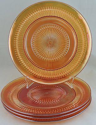 VINTAGE MARIGOLD CARNIVAL GLASS IRIDESCENT AMBER DINNER PLATE SET 4 GLASSWARE