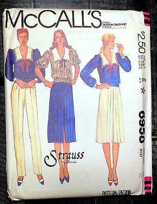 New! Vintage McCall's 6958 Misses Top, Skirt and Pants.  Sz 14 Bust 36