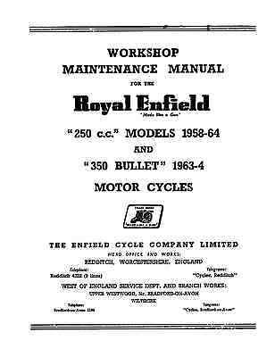Royal Enfield Spring Frame 250-350cc workshop manual