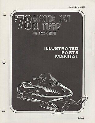 1978 arctic cat snowmobile el tigre' parts manual 0185-105 (480)