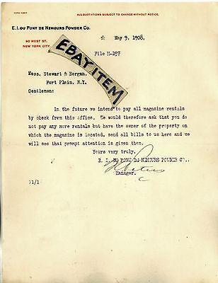 1908 Letterhead E I Du Pont De Nemours Powder Company New York City Peters