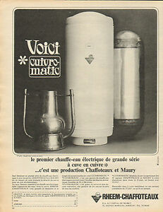 publicit 1965 chauffe eau lectrique cuve en cuivre. Black Bedroom Furniture Sets. Home Design Ideas