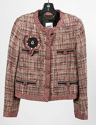 Moschino Gray Red Wool Blend Women's Tweed Snap Button Jacket Size 12