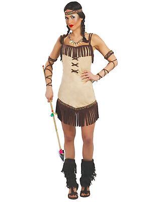 Mutige Indianerin Damenkostüm braun-beige - Cod.311091