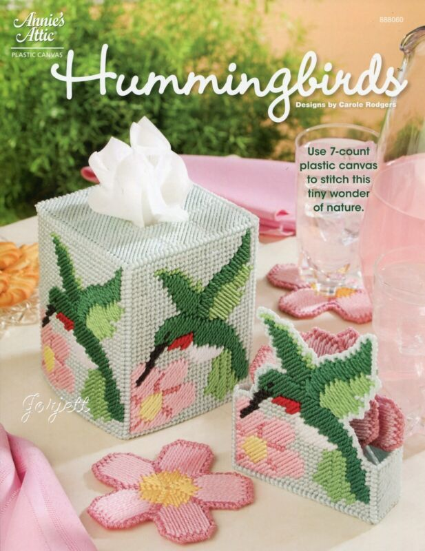 Hummingbirds Tissue Cover & Flower Coasters plastic canvas pattern leaflet NEW