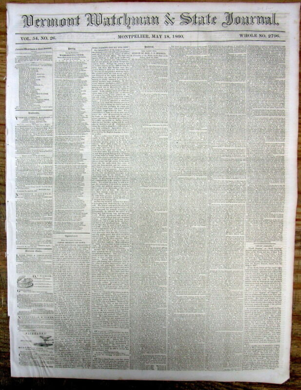 1860 newspaper with details JAPAN SENDS its 1st DIPLOMATIC DELEGATION to the US