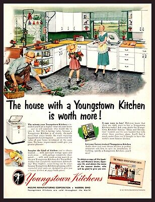 1951 YOUNGSTOWN Metal Kitchen Mid-Century Retro Family Vintage PRINT AD