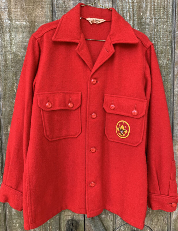 """Vintage 50's-60's Boy Scouts Official """"jac-shirt"""" Red Wool Blend BSA Patch"""