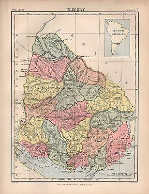 1880 ca ANTIQUE MAP- URUGUAY