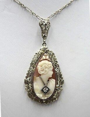 10k white gold filigree & cameo with small diamond pendant necklace