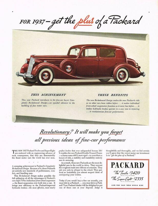 1930s BIG Original Vintage Packard 1937 Car Automobile Art Print Ad