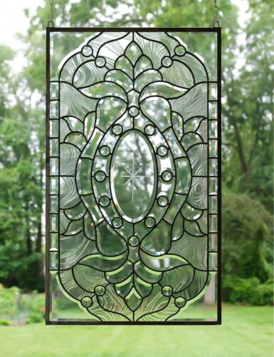 """Stunning Handcrafted All Clear stained glass Beveled window panel, 20"""" x 34"""""""