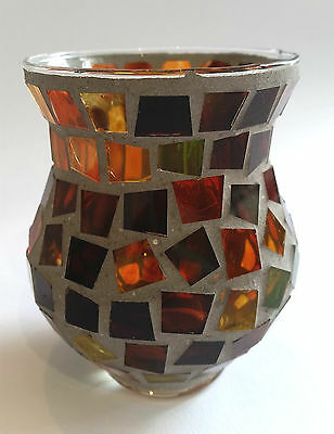 Mosaik Teelichthalter 7,5x10cm Kerzenhalter Windlicht Kerze Glas Deko Teelicht