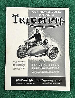 RARE ORIG 1952 TRIUMPH MOTORCYCLE MAGAZINE AD THUNDERBIRD 650 W/SIDECAR POSTER?