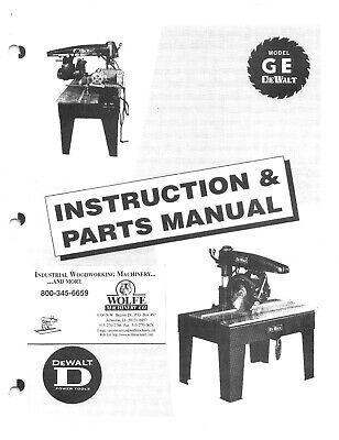 Dewalt Radial Arm Saw Model Ge Operator Instruction Parts Manual Cd