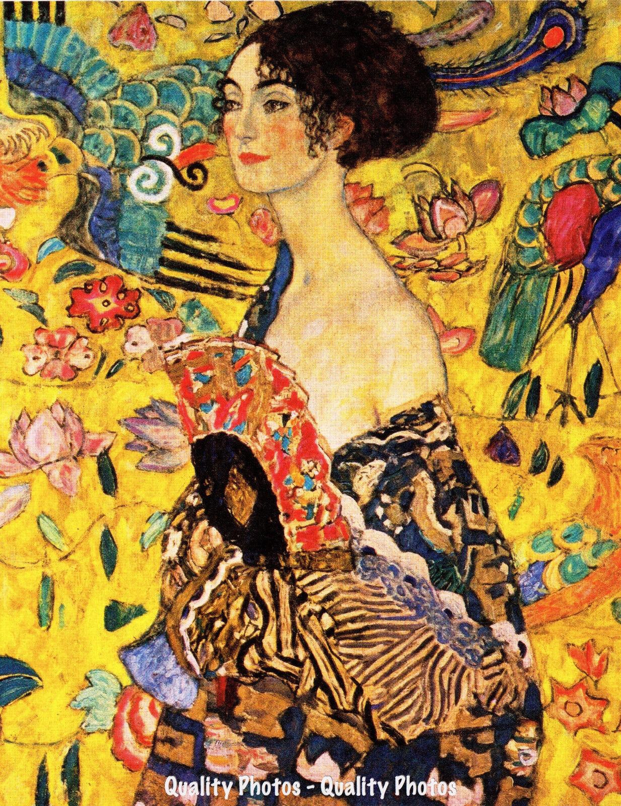 time4art Gustav Klimt Print Canvas Bild Dame Frau mit F/ächer Lady with Fan auf Keilrahmen Leinwand Verschiedene Gr/ö/ßen 80x80cm