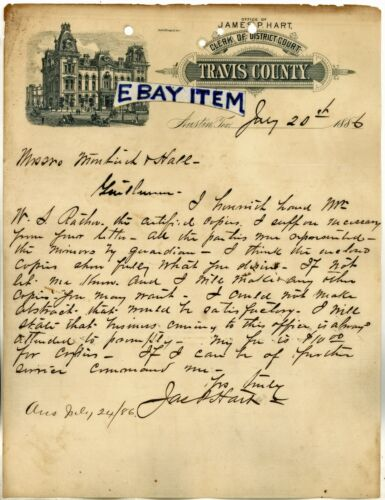 1886 AUSTIN TEXAS letterhead JAMES P. HART clerk of district court TRAVIS COUNTY