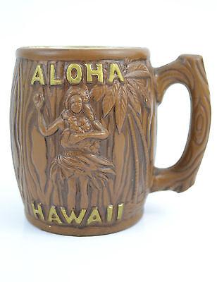 Vintage Aloha Hawaii Souvenir Mug Brown and Gold Wood Grain Look Tiki