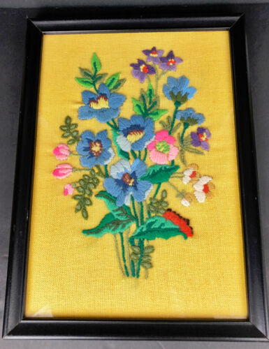 Vintage Flower Power Caterpillar Crewel Embroidery Retro Bright Yellow Linen