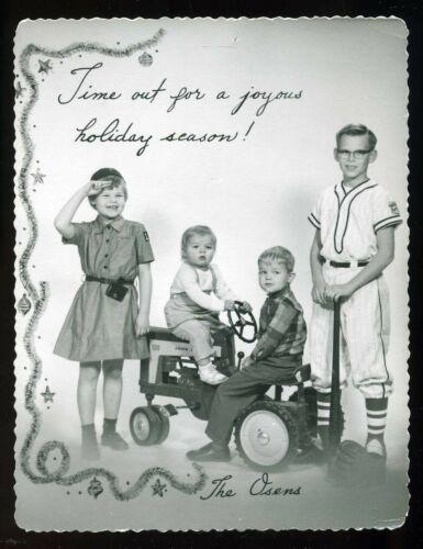 Vintage 1958 Boy on John Deere 130 JD Pedal Tractor Merry Christmas Photo Card