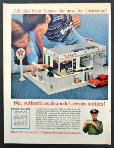 1960 Texaco: Scale Model Service Station Original Vintage Print Ad