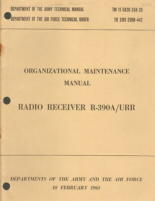 Dept of the Army, Air Force Radio Receiver R-390A/URR Organizational Maintenance for sale  Sparks