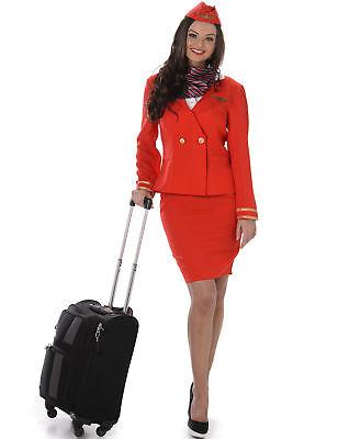 Stewardess Kostüm für Damen in rot (Stewardessen Kostüm)