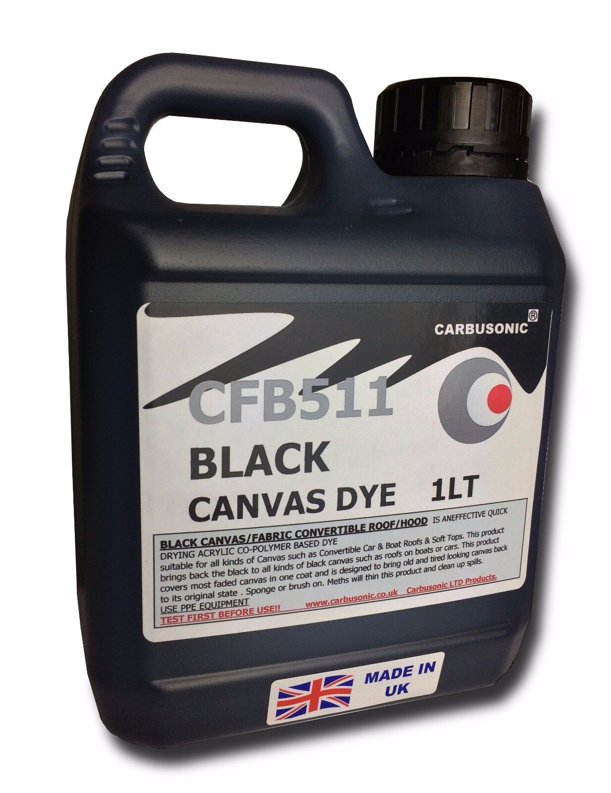 Black convertible roof hood canvas dye reviver, restores colour to fabrics. 1 LT