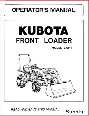 Kubota La211 Front Loader Operators Maintenance Manual On Cd