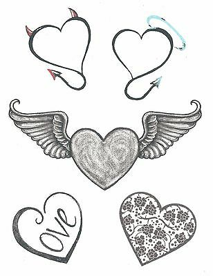 LARGE SHEET 5 DIFFERENT HEARTS LOVE ANGEL DEVIL WINGS temporary - Angel Devil Tattoo
