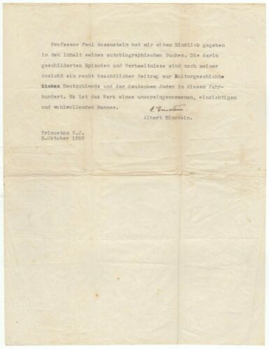 Einstein, Albert (1879-1955) - Typed letter signed regarding the German Jews