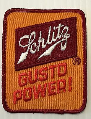 Schlitz Beer Gusto Powered Embroidered Patch 3-5/8  inches Beer Ale Vintage